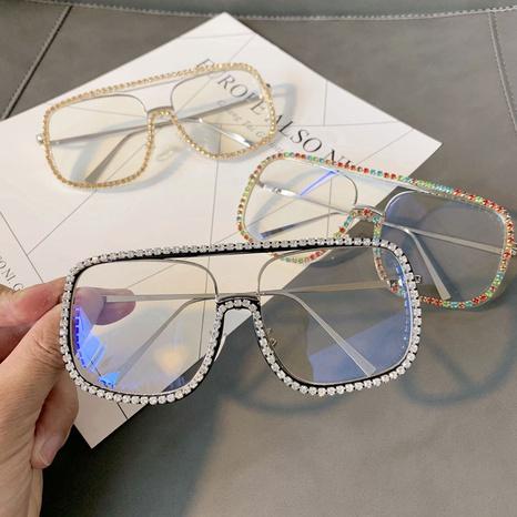 Vente en gros lunettes de soleil à monture carrée incrustée de pierres précieuses nihaojewelry NHMSG385877's discount tags