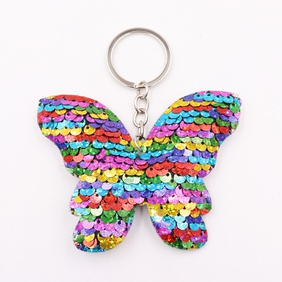 Double-sided sequin butterfly keychain reflective bow keychains bag Accessories wholesale NHWQ386097