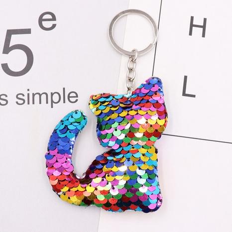 Gros chat sequin porte-clés réfléchissant double face pailleté animal sac voiture porte-clés pendentif accessoires NHWQ386104's discount tags