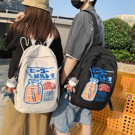 Nihaojewelry wholesale Korean contrast color printing large-capacity backpack  NHAV386130's discount tags