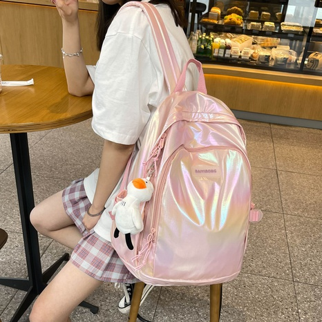 wholesale solid color non-printed pearl shiny surface backpack Nihaojewelry NHLH386232's discount tags