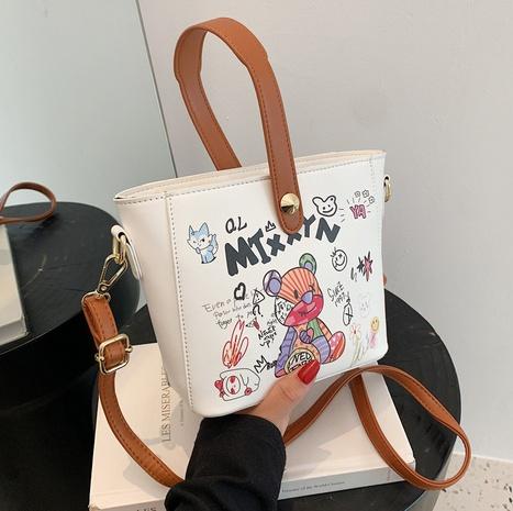 wholesale bear graffiti  messenger bucket bag Nihaojewelry NHLH386244's discount tags