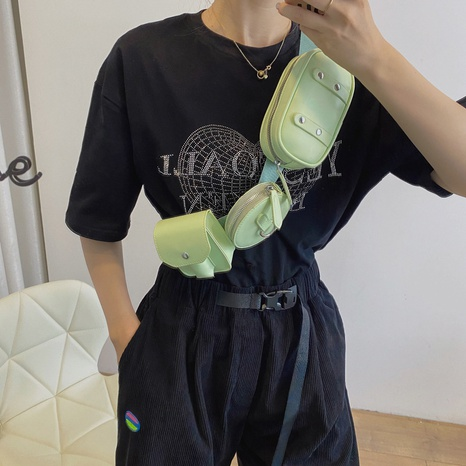 Nihaojewelry wholesale Korean solid color geometric messenger waist bag NHLH386315's discount tags