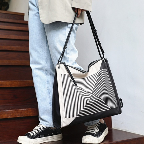 wholesale geometric lines canvas large-capacity tote bag Nihaojewelry NHLH386322's discount tags