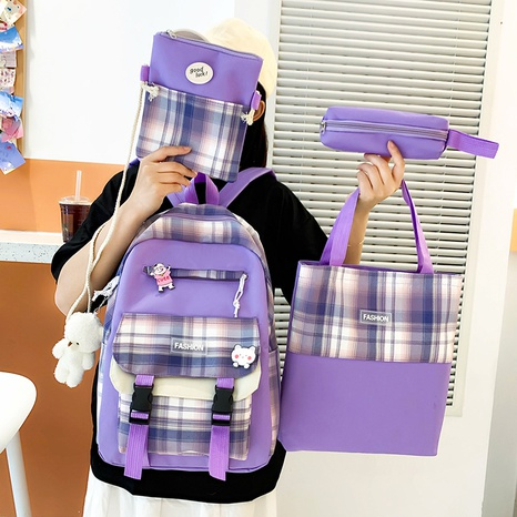 wholesale four-piece contrast color plaid backpack Nihaojewelry NHGA386340's discount tags