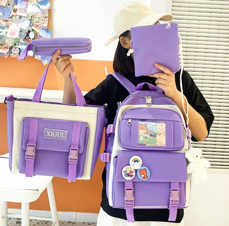 wholesale four-piece contrast color large-capacity bear pendant backpack Nihaojewelry NHGA386344's discount tags