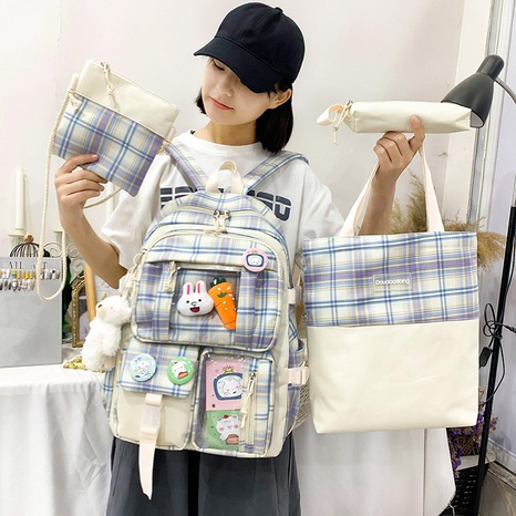 wholesale plaid bear doll pendant four-piece backpack Nihaojewelry NHGA386346's discount tags