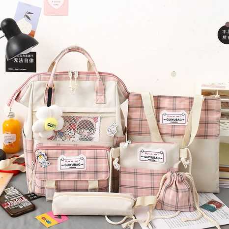 wholesale five-piece canvas plaid large capacity backpack Nihaojewelry NHGA386347's discount tags