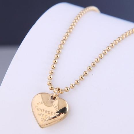 Nihaojewelry Großhandel Schmuck einfache Schriftzug Pfirsich Herz Titan Stahl Halskette NHSC387046's discount tags