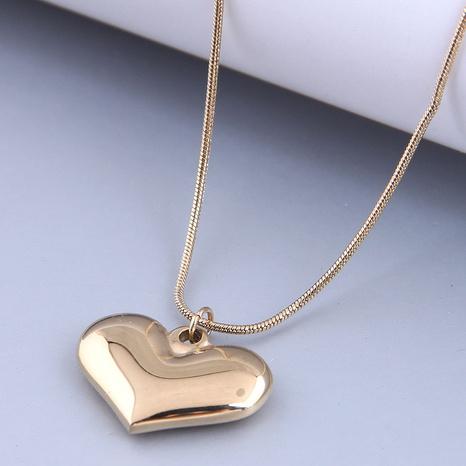 Nihaojewelry Großhandel Schmuck einfache große Pfirsichherz Anhänger Titanstahl Halskette NHSC387043's discount tags