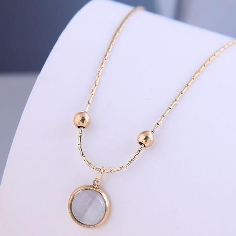 Nihaojewelry Großhandel Schmuck Einfache Opal Anhänger Titanstahl Halskette NHSC387040's discount tags