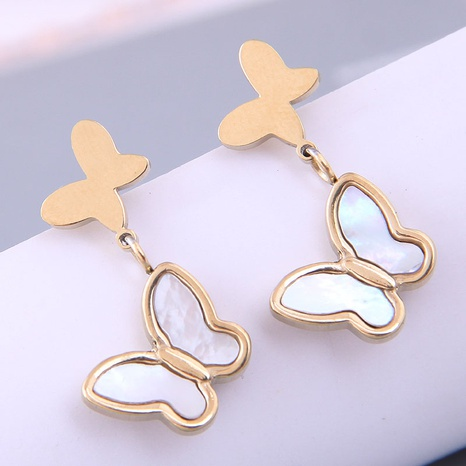 Nihaojewelry Großhandel Schmuck Korean Shell Butterfly Titanium Steel Ohrringe NHSC387028's discount tags