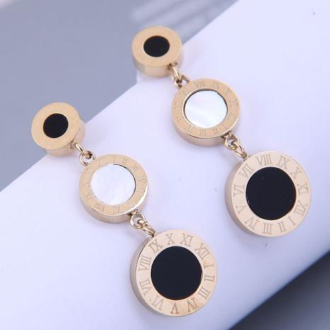 Nihaojewelry Großhandel Schmuck Mode schwarz und weiß lange runde Titanstahlohrringe NHSC387030's discount tags