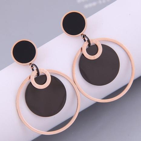Nihaojewelry Großhandel Schmuck Koreanische mehrschichtige Kreis Titanstahl Ohrringe NHSC387027's discount tags