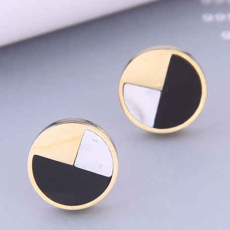 Nihaojewelry wholesale jewelry fashion compact round titanium steel earrings NHSC387025's discount tags