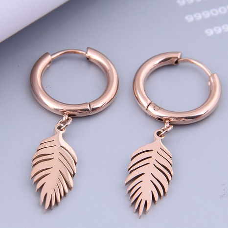 Nihaojewelry Wholesale Jewelry Fashion Maple Leaf Titanium Steel Earrings  NHSC387024's discount tags
