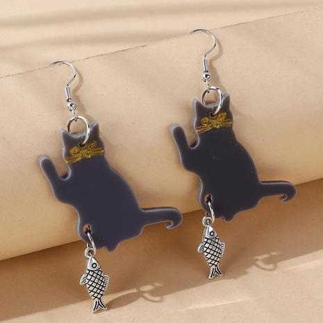 Nihaojewelry wholesale jewelry creative small fish kitten acrylic earrings NHPS387010's discount tags
