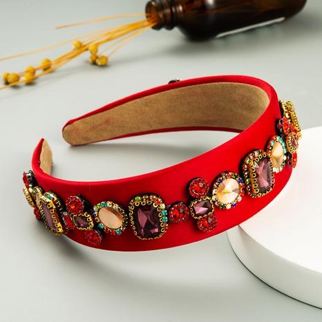 Nihaojewelry wholesale jewelry Baroque inlaid gemstone wide headband NHLN386925's discount tags