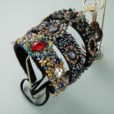 Nihaojewelry wholesale jewelry Baroque retro anti-skid crystal wide headband NHLN386924's discount tags