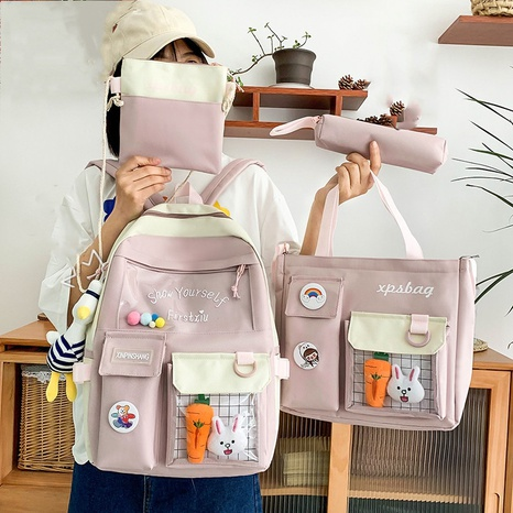 wholesale four-piece high-capacity duck doll canvas backpack Nihaojewelry NHGA386341's discount tags