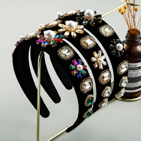 Nihaojewelry wholesale jewelry retro flannel inlaid pearl gem diamond headband NHLN386926's discount tags