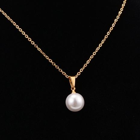 Großhandel Schmuck im koreanischen Stil Perlen Titan Stahl Halskette Nihaojewelry NHAB386598's discount tags
