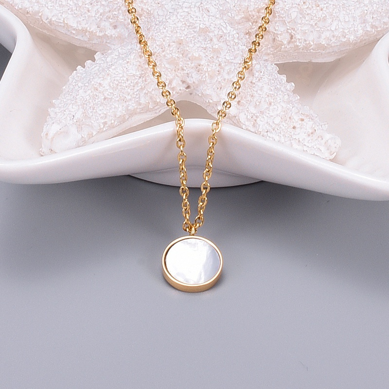 wholesale jewelry motherofpearl pendant clavicle chain korean style necklace Nihaojewelry NHAB386602