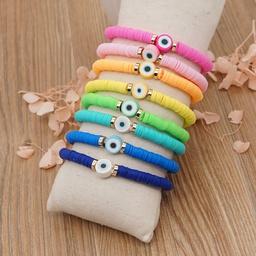 wholesale jewelry geometric woven candy color eye beaded bracelet nihaojewelry  NHYUX386670