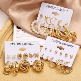 wholesale jewelry metal circle chain heart pin butterfly earrings 6-piece set Nihaojewelry NHPJ386835