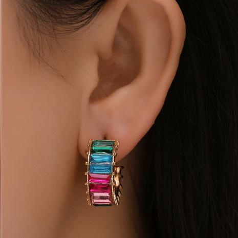 Großhandel Schmuck geometrische Legierung Farbe Diamant Ohrringe Nihaojewelry NHYAO386951's discount tags