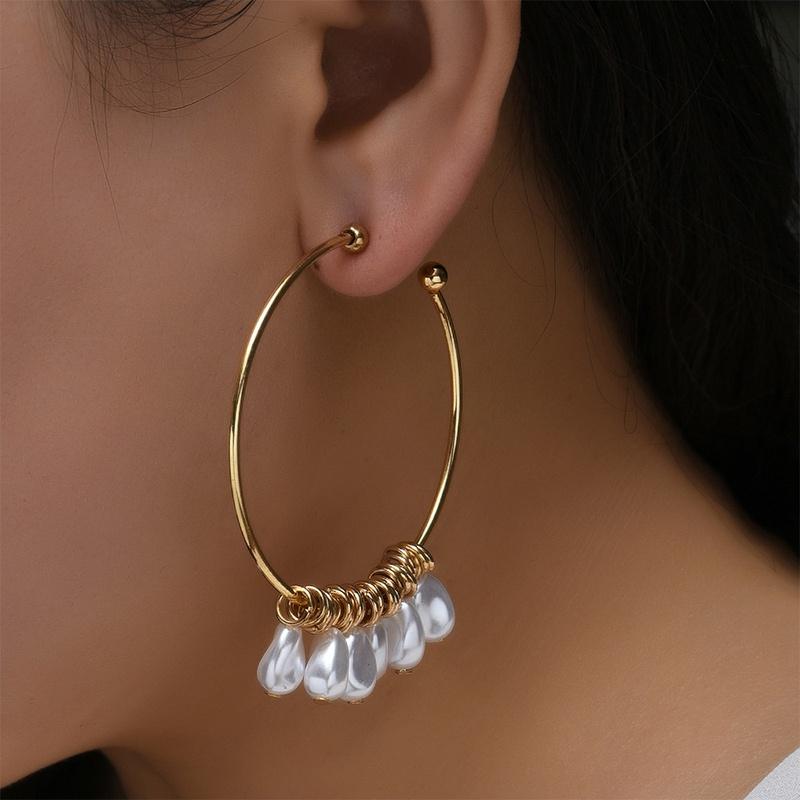 wholesale jewelry irregular geometric pearl ear hoop Nihaojewelry NHYAO386971