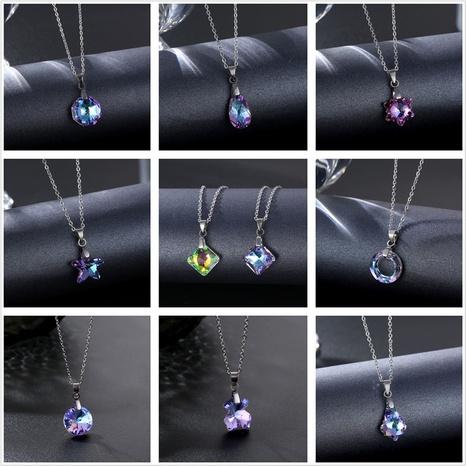 wholesale joyería cristal melocotón corazón mariposa colgante geométrico collar de acero inoxidable Nihaojewelry NHAC386989's discount tags