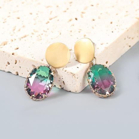wholesale jewelry fashion alloy diamond-studded acrylic geometric earrings Nihaojewelry NHJE387138's discount tags