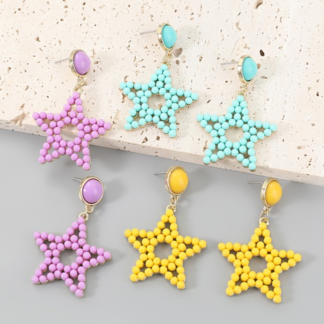 wholesale jewelry alloy resin star earrings Nihaojewelry NHJE387139's discount tags