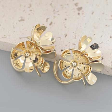 wholesale jewelry alloy flower C-shaped earrings Nihaojewelry NHJE387137's discount tags