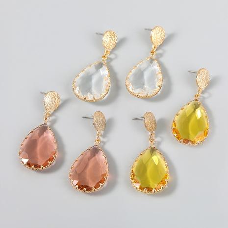 wholesale jewelry simple alloy diamond-studded acrylic drop-shaped earrings Nihaojewelry NHJE387143's discount tags