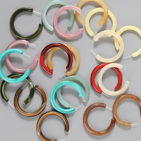 wholesale jewelry alloy resin C-shaped geometric earrings Nihaojewelry NHJE387142's discount tags