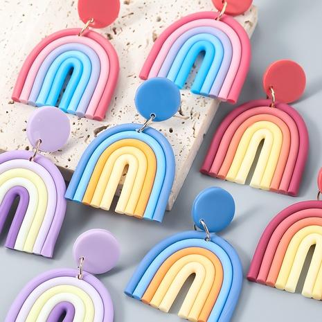 wholesale jewelry soft pottery rainbow earrings Nihaojewelry NHJE387148's discount tags