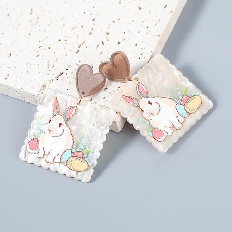 wholesale jewelry retro alloy resin rabbit pattern geometric earrings Nihaojewelry NHJE387150's discount tags