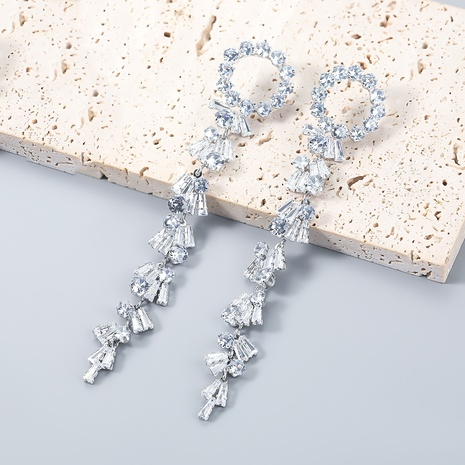 wholesale jewelry flashing claw chain alloy inlaid zircon long earrings Nihaojewelry NHJE387151's discount tags