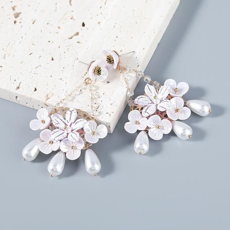 wholesale jewelry alloy imitation pearl resin flower earrings Nihaojewelry NHJE387155's discount tags