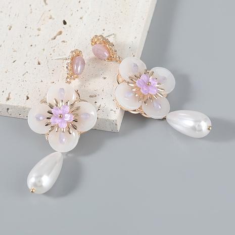wholesale jewelry alloy pearl resin flower earrings Nihaojewelry NHJE387158's discount tags