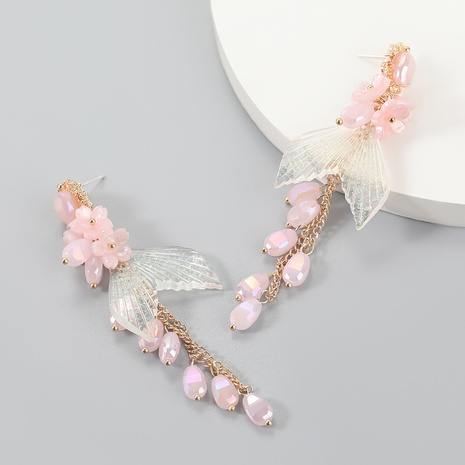 wholesale jewelry alloy resin fishtail earrings Nihaojewelry NHJE387160's discount tags