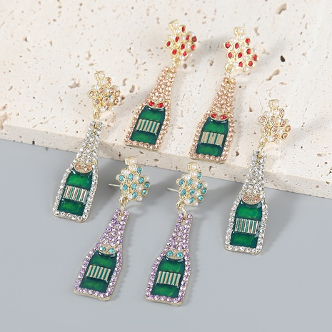 wholesale jewelry alloy inlaid pearl diamond acrylic wine bottle earrings Nihaojewelry NHJE387161's discount tags