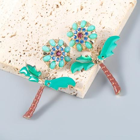 wholesale jewelry alloy drop oil diamond acrylic flower earrings Nihaojewelry NHJE387162's discount tags