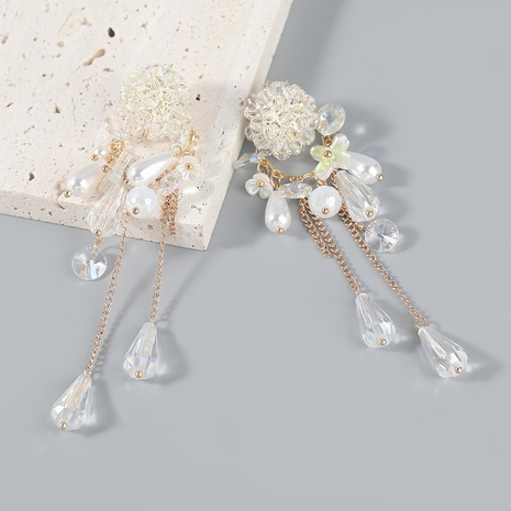 wholesale jewelry alloy resin flower pearl earrings Nihaojewelry NHJE387163's discount tags