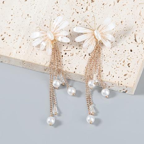 wholesale jewelry alloy resin imitation pearl tassel butterfly earrings Nihaojewelry NHJE387164's discount tags