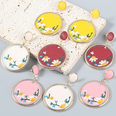 wholesale jewelry embroidery floral artificial leather alloy round earrings Nihaojewelry NHJE387166's discount tags