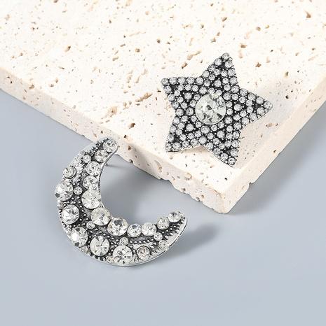 Wholesale Jewelry Rhinestone Star Moon Asymmetrical Earrings Nihaojewelry NHJE387168's discount tags