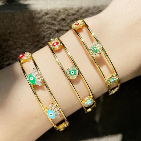 wholesale jewelry devil's eye copper inlaid zircon open bracelet nihaojewelry  NHAS387180's discount tags